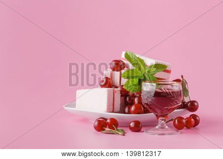 Cherry Liqueur On Pink