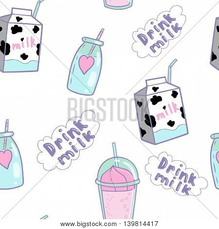 Cute pattern with milk tubule for children.Smoothies a cocktail a drink in the pot with straw a carton of milk