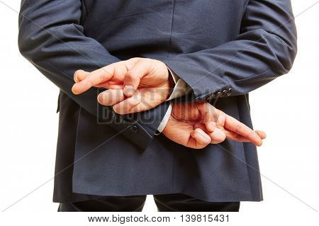 Cheating business man crossing his fingers behind his back