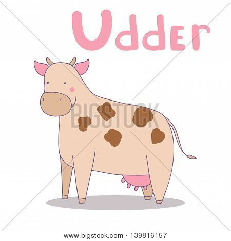 Vector illustration of udder cow. Cute alphabet in vector. U letters. Funny cartoon.