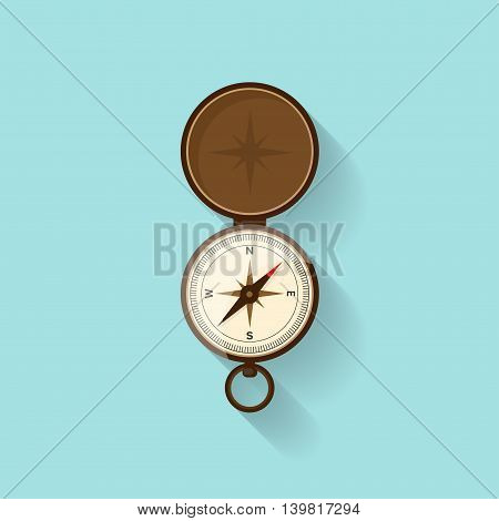 Compass in a flat style. Travel, hiking, camping or tourism. Navigation, route planning. Way finder. Vector illustration