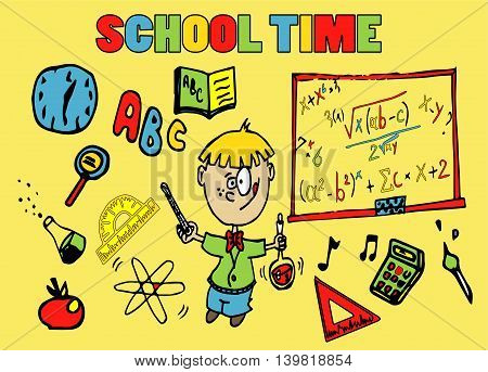 School background with school elements and kid