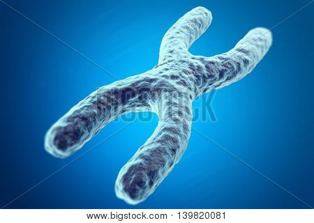 X Chromosome on blue background with focus effect, scientific concept. 3d illustration
