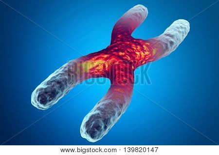 X chromosome, red in the center, the concept of infection, mutation of the disease. 3d illustration