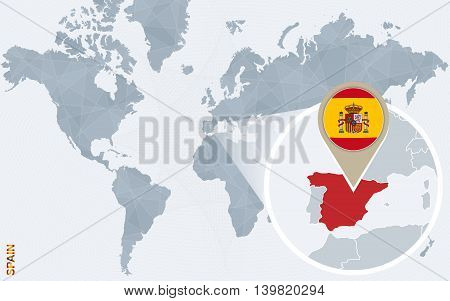 Abstract blue world map with magnified Spain. Spain flag and map. Vector Illustration.