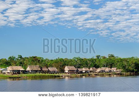South America Amazonas landscape. Typical indian tribes on the river bank the Amazons