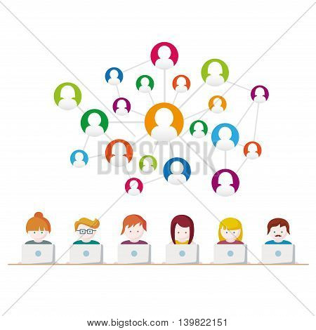 Social Media, network people with computers vector illustration