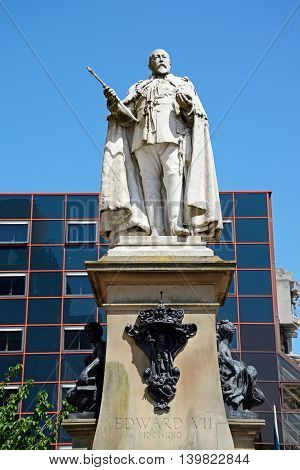 BIRMINGHAM, UNITED KINGDOM - JUNE 6, 2016 - Statue of Edward VII in Centenary Square Birmingham England UK Western Europe, June 6, 2016.