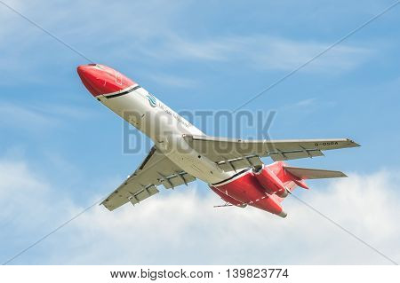 FARNBOROUGH, UK - JULY 14: Boeing 727 oil spill response aircraft operated by OSRL taking-off from Farnborough, UK on July 14, 2016