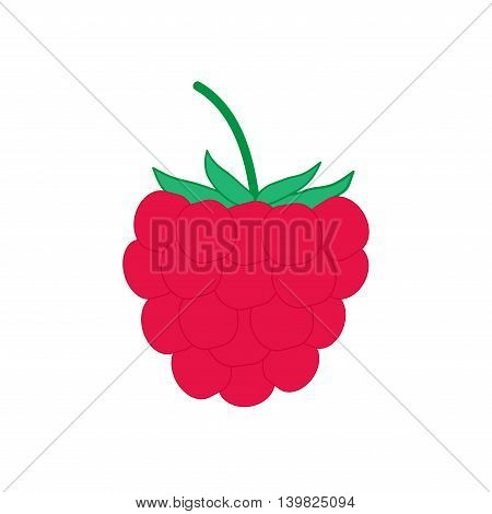 Sign flat raspberry. Fruit icon isolated on white background. Color organic food symbol. Healthy concept. Trendy eco vegetarian plane mark. Freshness berry logo. Stock vector illustration