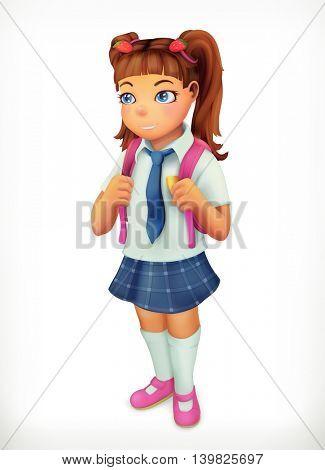 Schoolgirl. Little girl cartoon character. Vector icon