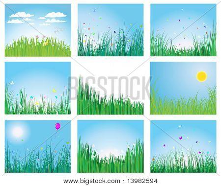 Set van vector gras silhouetten achtergronden voor ontwerp gebruik