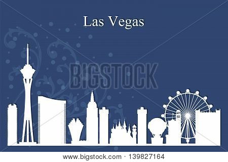 Las Vegas City Skyline Silhouette On Blue Background