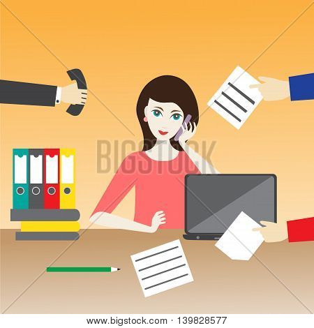 Vector illustration of a woman in the office. Workday and workplace concept.