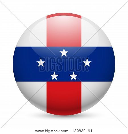 Flag of Netherlands Antilles as round glossy icon. Button with flag design