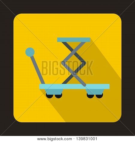 Warehouse trolley for weight lifting icon in flat style on a yellow background