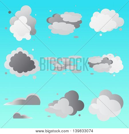 Set of clouds collection. Weathe icon for design. Vector illustration.