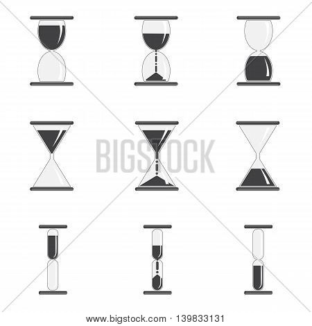 Set of icon sand glass clock. Vector illustration.