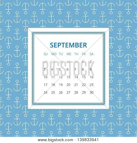 September 2017. One month calendar vector template in a page, square format. Hand drawn seamless pattern on background. Week starts on Sunday. Blue and white colors