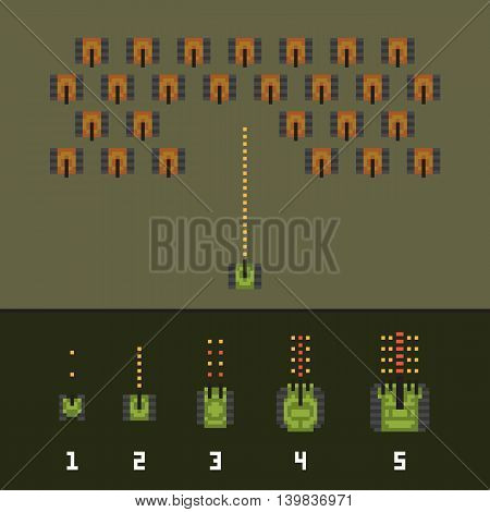 Pixel art style war and tank game upgrades vector pack
