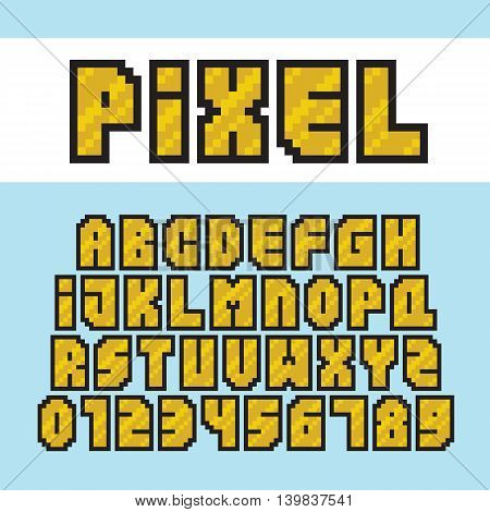 Pixel art style golden alphabet and numbers vector font
