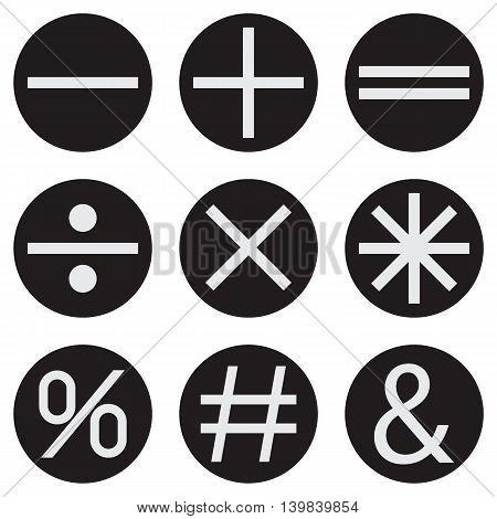 Basic Mathematical symbols on black background. Vector illustration EPS 10.