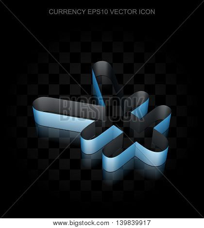 Money icon: Blue 3d Yen made of paper tape on black background, transparent shadow, EPS 10 vector illustration.