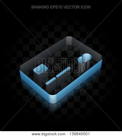 Banking icon: Blue 3d Credit Card made of paper tape on black background, transparent shadow, EPS 10 vector illustration.