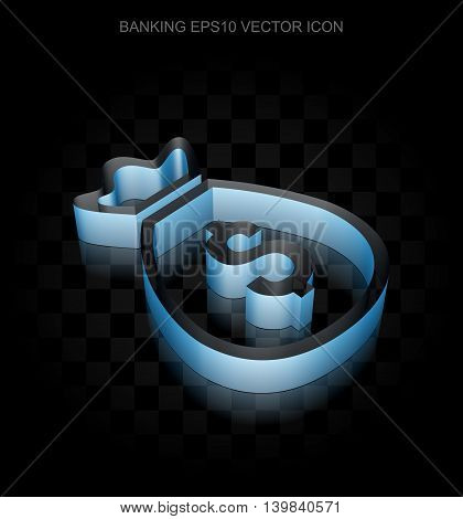 Money icon: Blue 3d Money Bag made of paper tape on black background, transparent shadow, EPS 10 vector illustration.