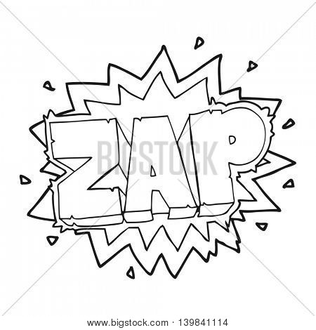 happy freehand black and white cartoon zap explosion sign