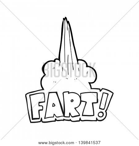 freehand drawn black and white cartoon fart symbol