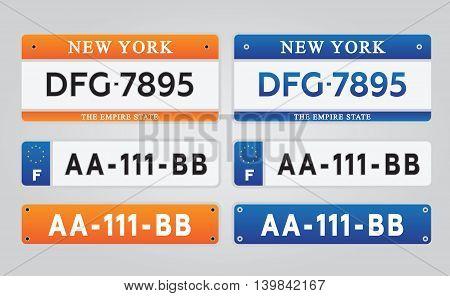 License car number plates set vector illustration eps10