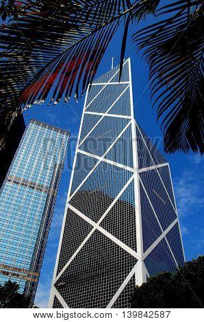 Hong Kong - January 3 2008: Cheung Kong Tower at left and I. M. Pei's landmark 72 story Bank of China Tower