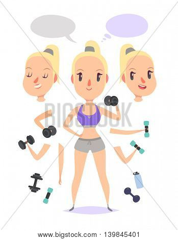 Active fitness girl lifts weights and exercises. Pack of body parts, emotions and equipment. Vector character illustration in cartoon style.