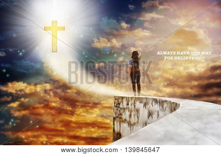 Text always have the way for believers with crucifix on heaven sky and blurred back side or rare view women on highway dead end poster