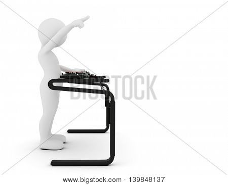 Toon man DJ spinning music on mixer. White background. 3D illustration.