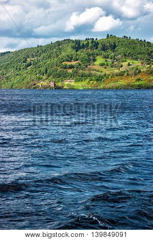 Countryside View On Lake In Loch Ness In Scotland