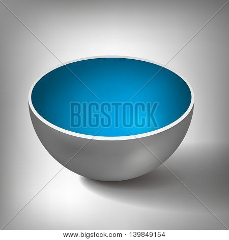 Vector volume half of a hollow sphere, open ball, inside a blue coated, abstract object for you project design poster