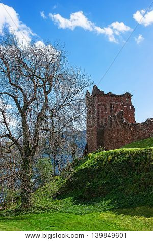 Grand Tower Of Urquhart Castle At Loch Ness In Scotland