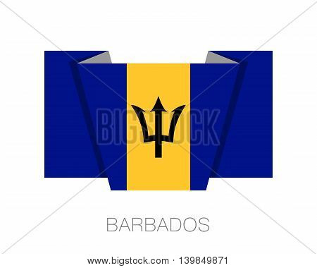 Flag Of Barbados. Flat Icon Wavering Flag With Country Name