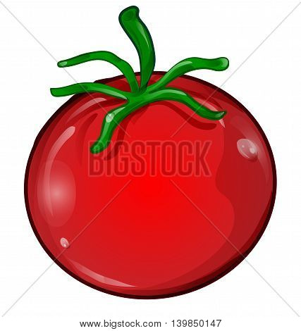 red tomato cartoon isolated on white background