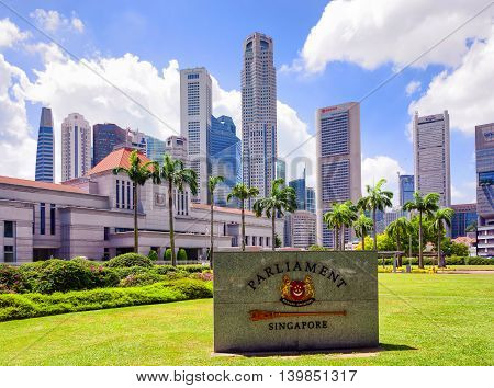 Granite Sign And Parliament House Building In Singapore