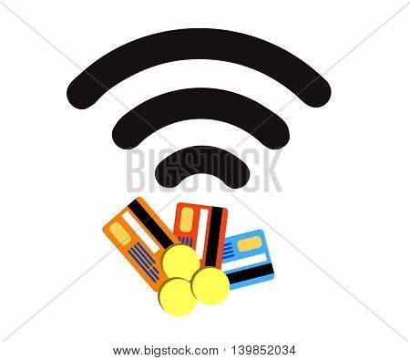 Contactless credit card vector.Wifi Credit Debit Card.Credit card sign icon. Virtual money..