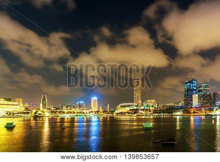 Singapore Esplanade At Marina Bay At Night