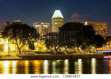 Singapore Skyline And Quay In The Downtown At Night