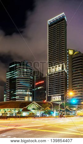 Telok Ayer Market At Night In Downtown Core In Singapore