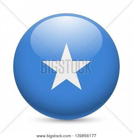 Flag of Somalia as round glossy icon. Button with Somalian flag