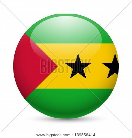 Flag of Sao Tome and Principe as round glossy icon. Button with flag design