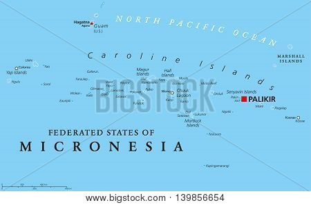 Federated States of Micronesia political map with capital Palikir. An independent sovereign island nation consisting of four united states spread across the Western Pacific Ocean. English labeling.