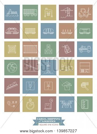 Collection of cargo, shipping, logistics and freight transport line icons, negative in colored squares